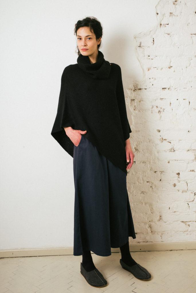 Wide leg twill culotte in Ink