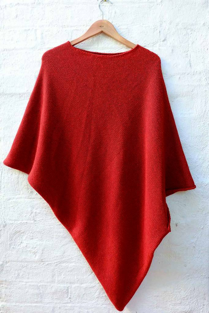 Hand made alpaca poncho with boat neck and armhole on one side
