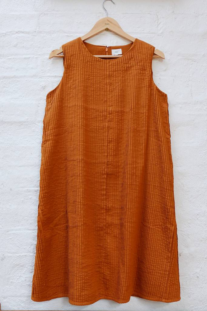 All over pintuck a-line dress with no sleeves