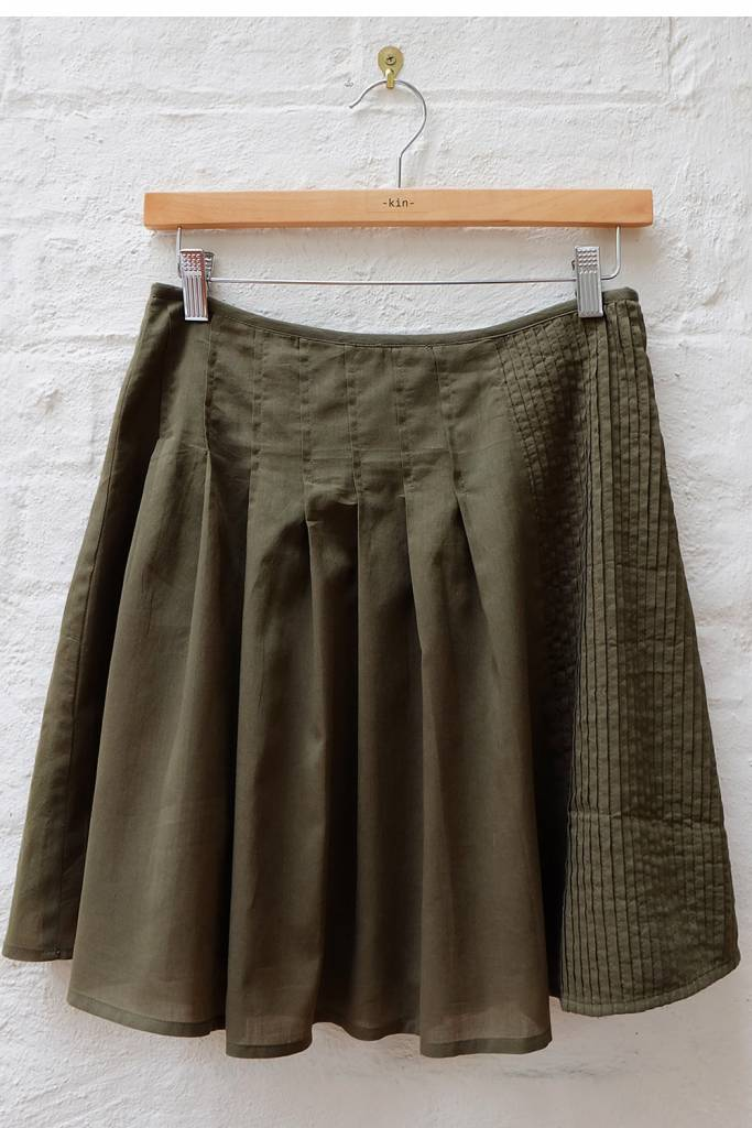 Cotton voile pleated skirt with pin-tucked side panel