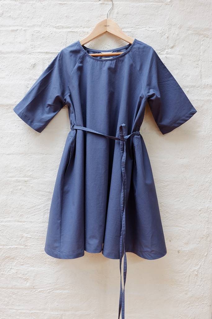 Easy poplin dress with tie front