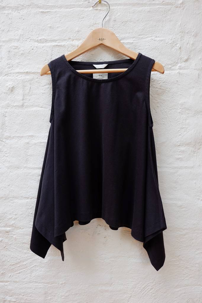Cotton jersey sleeveless tank with flared hem