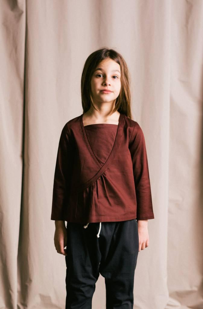 Ida organic sateen shirt with a bias ruffle detail