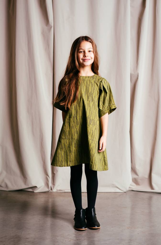 Organic cotton twill dress featuring loose fitting ¾ length pleated sleeves