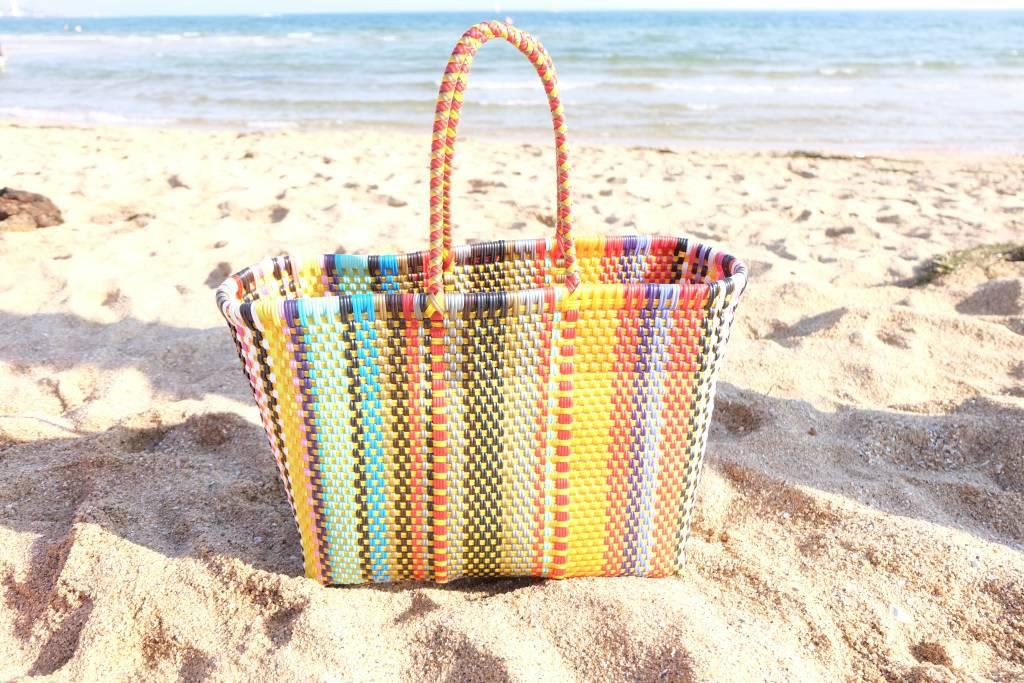 'Acapulco' Hand woven basket in bright multi-colour finish.
