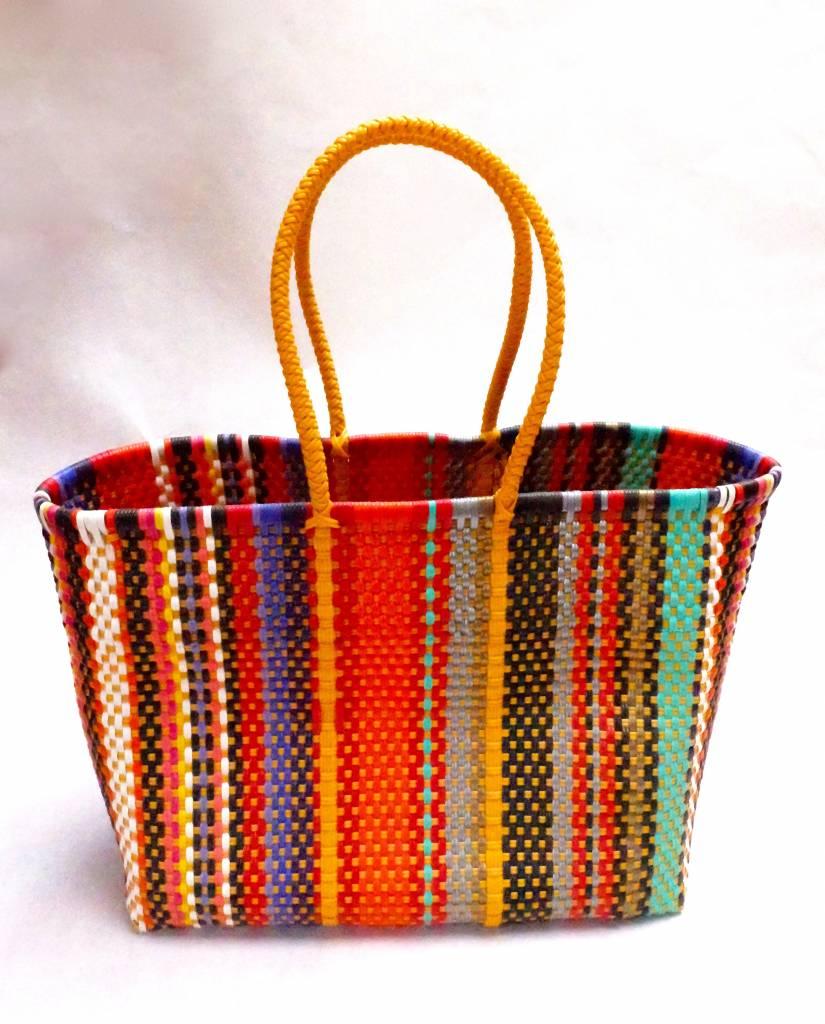 Acapulco hand-woven basket in bright multi colour