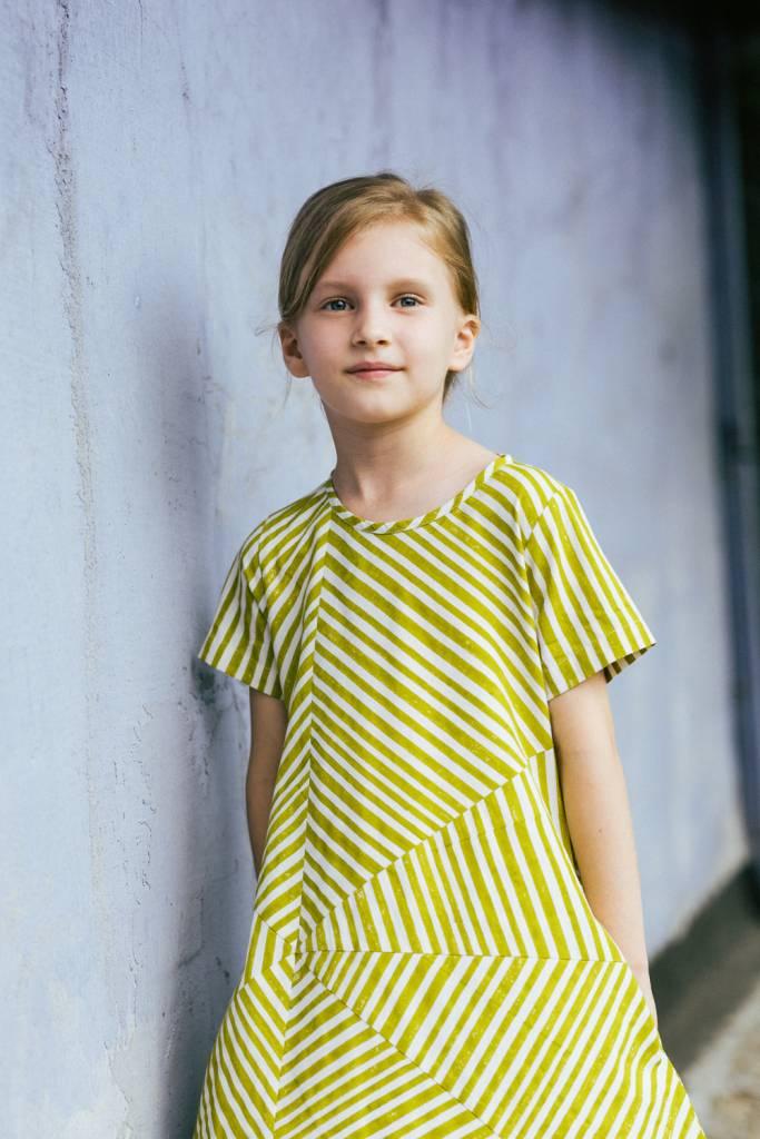 Stripe block print dress in organic cotton poplin