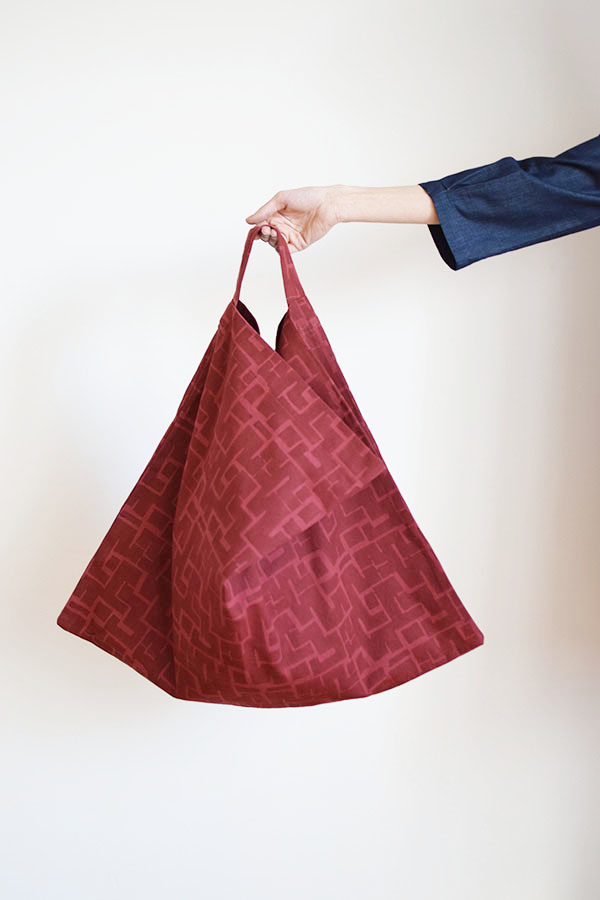 block printed canvas tote bag