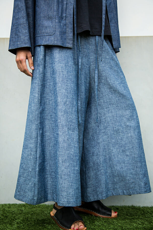 Culotte in light cotton / linen chambray