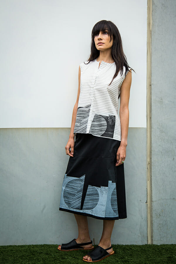 Tatlin Skirt in cotton sateen with geometric silkscreen print