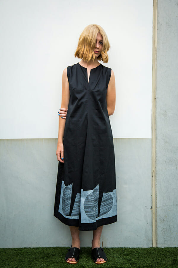 Monument Dress in cotton sateen with geometric silk screen print