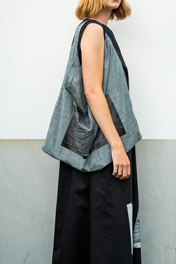 Tote Bag in crisp utility denim with silkscreen print