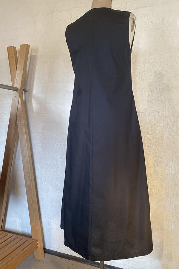 sleeveless cotton twill dress with print