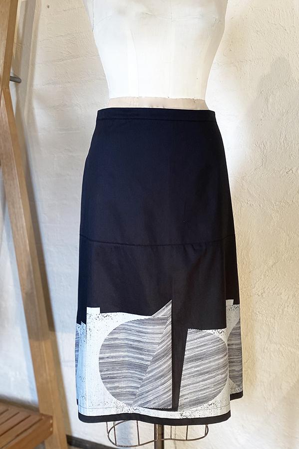 Printed cotton twill skirt