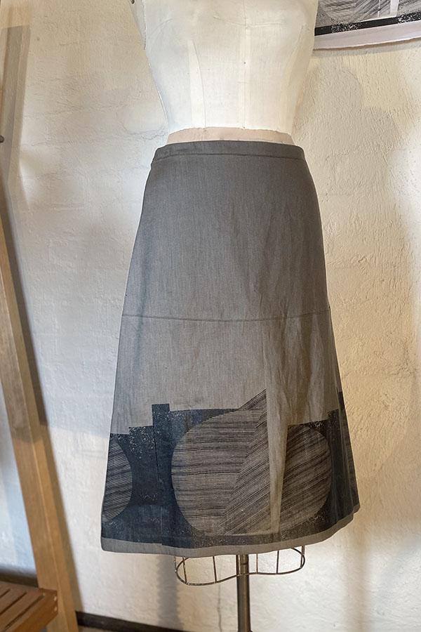 Printed linen a-line skirt