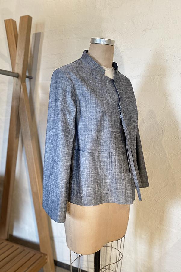 denim jacket with tie closure