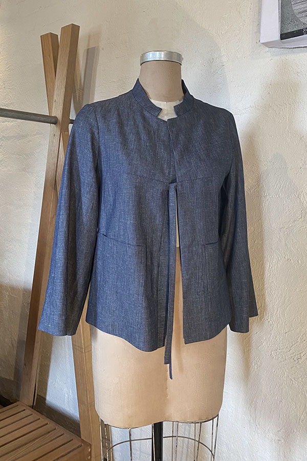 light denim jacket with tie closure