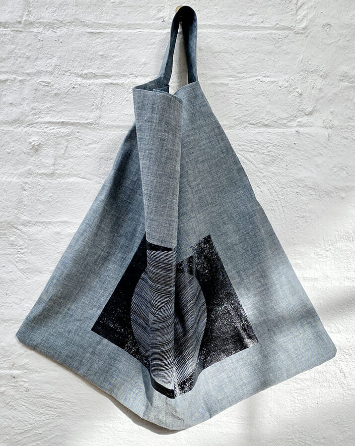 printed denim square tote