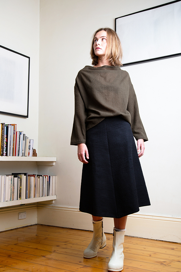 wool pullover top with draped neck